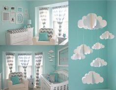 quarto de bebê azul nuvens móbile