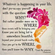 Whatever is happening in your life, don't preoccupy yourself with the question WHY? But rather ponder more on WHERE these events will be bringing you. Know you are being led to somewhere beautiful, beyond your present harsh reality. Once you get to the WHERE, then you'll know the WHY. Trust the process ☼