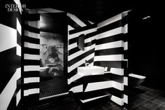 Stripes Enliven Berlin's Bar Zentral Designed by Hidden Fortress. #design #interiors #interiordesignmagazine #bathrooms #berlin