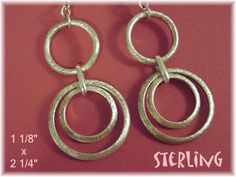 "Sterling Silver ~ Freedom Circles 2 1/4"" Earrings - Gift Boxed  @@ FREE SHIPPING @@"