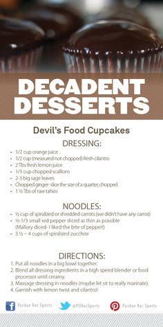 Devil's Food Cupcake Recipe from Purdue Rec Sports' Decadent Desserts Cooking Demonstration. #MoveMoreAchieveMore