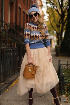 Blair Eadie wearing a tulle skirt and colorful tights for a festive fall look // Click through to see more holiday outfits on her site Atlantic-Pacific Holiday Fashion, Holiday Outfits, Fall Winter Outfits, Winter Fashion, Love Fashion, Fashion Outfits, Holiday Style, Winter Style, Casual Outfits