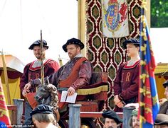 Nice day for a joust: The British star is dressed in full Tudor costume to film the upcomi...