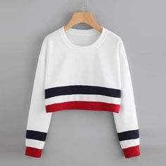Crop Sweatshirt Women Striped Sexy Short Women Tracksuit Streetwear Cr – geekbuyig