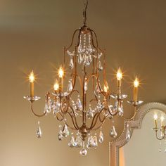 I love this chandelier, it would look PERFECT in my dining room! Elegance Crystal Swag Chandelier - 6 Lt