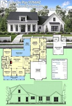 Architectural Designs Modern Farmhouse Plan Plan 51766HZ gives you just over 2,300 square feet of heated living space PLUS a bonus room over the garage. We're excited to see it built! Ready when you are. Where do YOU want to build?