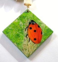 Ladybug Necklace Hand Painted Pendant and Beads   JewelryArtByDawn - Jewelry on ArtFire