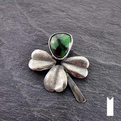 CZTEROLISTNA 2 | Monika Kraczek  Unique silver pendant with zoisyt and ruby. Shop: www.monikakraczek.com