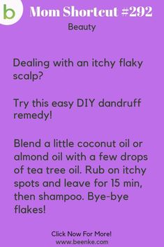 Beauty Hacks #292: An easy home remedy for an itchy, flaky scalp.  Get all the best beauty tips and tricks including makeup, skincare, DIY products, and help for hair. CLICK NOW to discover more Mom Hacks. #beenke #MomShortcuts #MomHacks #LifeHacks #BeautyHacks #EverydayBeautyRoutine Homemade Beauty Tips, Beauty Tips For Hair, Best Beauty Tips, Beauty Secrets, Beauty Care, Diy Beauty, Beauty Habits, Hair Tips, Beauty Ideas