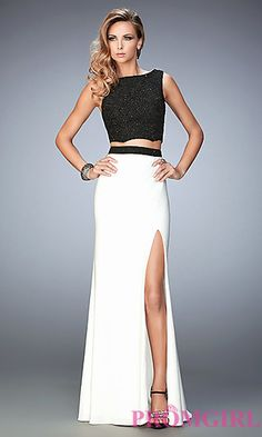 Black Top White Long Jersey Skirt Prom Dress by Gigi at PromGirl.com