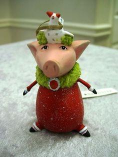 PATIENCE BREWSTER KRINKLES PHYLLIS PIG MINI CHRISTMAS ORNAMENT