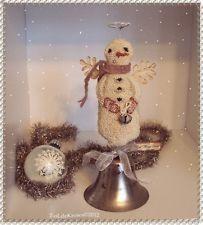 AngeL Wings BeLL- OriginaL PrimiTive Punch NeedLe ChrisTmas Snowman Vintage BeLL