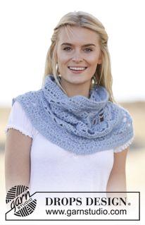 "Crochet DROPS neck warmer in ""Alpaca"" and ""Kid-Silk"". ~ DROPS Design"
