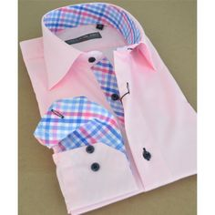 Pink colour Men #frenchshirt with dark blue buttons and  checkered blue and pink lining and inside collar Worth AU$79.00 only!!!