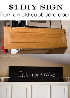 DIY kitchen sign {Eat.More.Cake} via iheartnaptime.net #crafts #homedecor