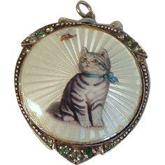 Guilloche Enamel German Sterling Cat Pendant Watch from stonefruitestate on Ruby Lane
