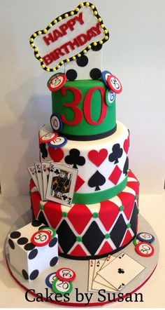 Vegas themed cake, I like the green, and more detailed poker chips