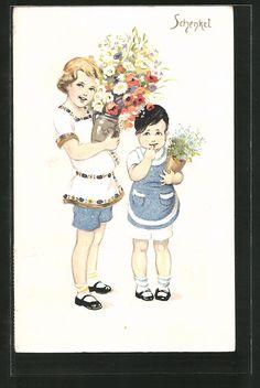 Künstler-AK Franziska Schenkel: zwei Kinder tragen Blumen 0