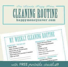 ORGANIZING: Best Cleaning Routine Plus FREE Printable Checklist