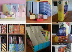 Organizar livros, revistas ou cadernos com uma simples caixa de cereal ou sucrilhos