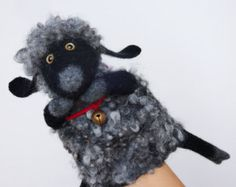 the white sheep hand puppet wet felted number 2 MADE TO by bibabo