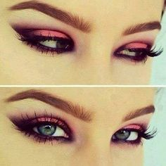 Pink eye make-up for green eyes