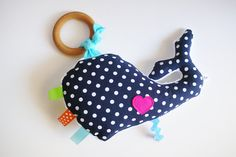 Wooden teething ring toy sensory crinkle toy whale by bakerbaby, $20.00