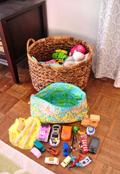 Family with a toddler.  Basket of frequently-used toys in the living room and in it, a bag of favorite toys.  The toys in the basket are periodically rotated to keep the toddler interested in what's there.  Easy clean-up and enables her to play independently too.