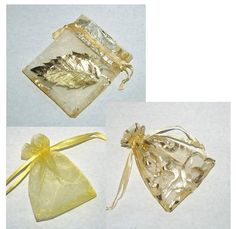 35 Gold Foil Swirl and Yellow Organza Bags 3 by NaturalGemDesigns fall festival sacks, jewelry gift pouchs School Projects, Craft Projects, Acorn Wreath, Hummingbird Nests, Fall Gifts, Sacks, Organza Bags, Gold Foil, Dried Flowers