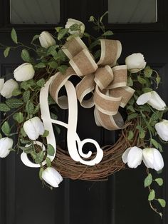 White Tulip Wreath  Gift for Her  Wreath  Shabby Chic