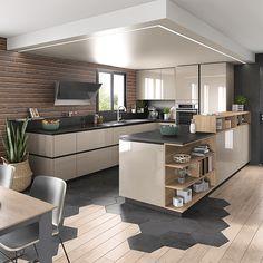 Cuisine équipée en U ouverte sur salon - Ambiance Moderne | Mobalpa