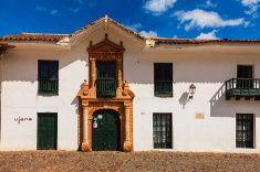 Colombia: 16th Century town of Villa de Leyva, main plaza. stock photo