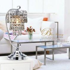 Single-Light Crystal Table Lamp Polished Chrome