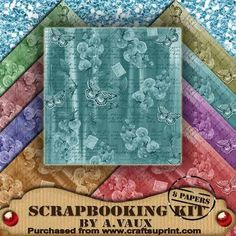 Painted Butterfly Sweet Pea 8 Scrapbooking Papers Kit on Craftsuprint - Add To Basket!