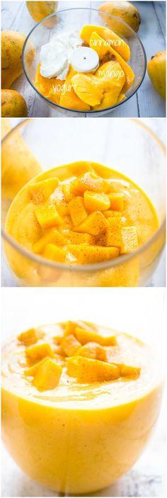 Mango saludable y yogur griego Smoothie {3} Ingredientes por brunchtimebaker #Smoothie #Mango #Yogurt #Cinnamon #Healthy #Easy: