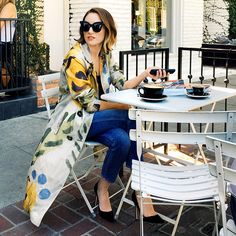 Katherine Power co-founder of Who What Wear in West Hollywood wearing a flower motif organdy trench coat  Shot by Sisilia Piring for VSCO Cam®
