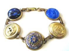 NAVAL ACADEMY, NAVY antique uniform button bracelet. Blue & Gold. Honor your sailor and our troops!