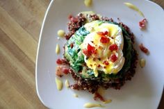 Creamed Spinach Stuffed Portobello Mushroom with Poached Egg