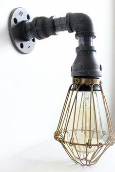 Industrial Lighting Wall Sconce w/ Brass Cages - Steampunk Bathroom vanity light - Bronze light fixture, Loft art pipe Furniture Edison - Haddock Industrial