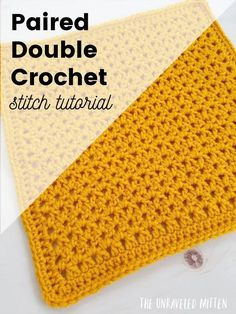 The paired double crochet is a lacy stitch that would be great to use on blankets, scarves, shawls and more! Crochet Patterns For Beginners, Crochet Blanket Patterns, Crochet Stitches, Crochet Tutorials, Granny Square Crochet Pattern, Crochet Squares, Crochet Granny, Quick Crochet, Diy Crochet
