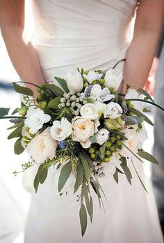Bride's Bouquet Including: White English Garden Roses, White Tulips, White Ranunculus, White Freesia, Fresh Lavender, Silver Brunia, Green Hypericum Berries, Green Seeded Eucalyptus, & Bear Grass~~~~