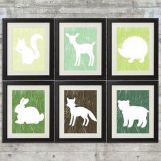 Woodland Nursery Art , Forest Nursery Art, Forest Animals, Little Critters - set of 6 -  8x10 Prints