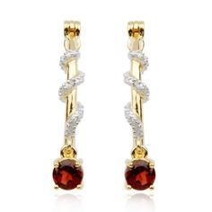 """18k Yellow Gold Plated Sterling Silver Genuine Garnet Round Drop with Diamond Accent Hoop Earrings (0.8"""" Diameter) Amazon Curated Collection. $44.00. Made in China. Save 66% Off!"""