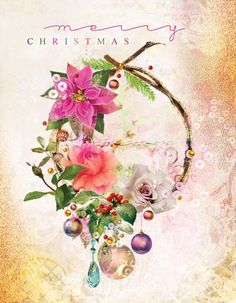 Brand new exclusive Christmas card from Lara Skinner! Wreath, flowers,  gold, christmassy!!!!!! Christmas 2015
