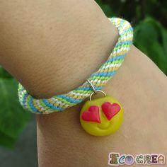 Kumihimo Friendship Bracelet Emoji charm bracelet with flexible mass emoticon de ECOCREA en Etsy