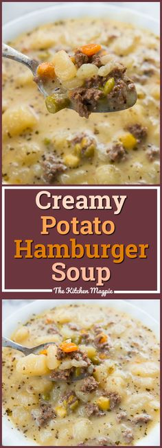 Creamy Potato and Hamburger soup! This hamburger soup is the perfect way to warm up this winter! You can make it in the crockpot or stove top! From @kitchenmagpie