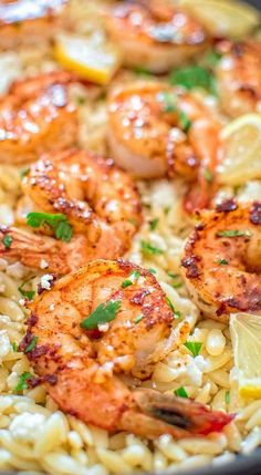 Very easy to make, yet unbelievably delicious, this One Pot Orzo with Shrimp and Feta is worthy of a special occasion!COM (Butter Shrimp Families) Fish Recipes, Seafood Recipes, Pasta Recipes, Chicken Recipes, Dinner Recipes, Cooking Recipes, Healthy Recipes, Bbq Chicken, Baked Chicken