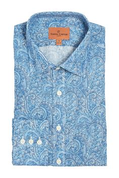 Simon Carter Made With Liberty Fabric Tropical Prince Product Code: SCSH00453 Simon Carter, Liberty Fabric, Shades Of Blue, Paisley, Prince, Tropical, Shirt Dress, Future, Grey