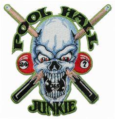 Amazon.com: Pool Hall Junkie Billards Skull Sticks Embroidered iron on Patch: Clothing