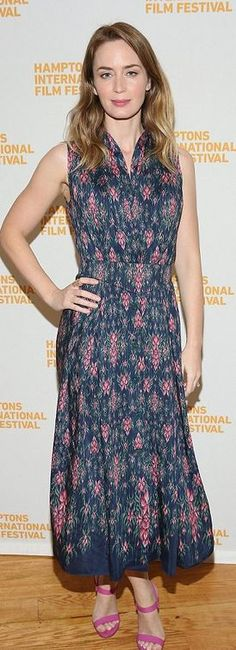 Who made Emily Blunt's gray floral print dress?